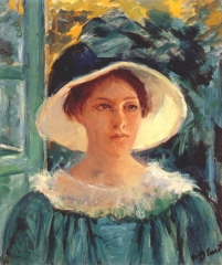 Young Woman in Green, Outdoors in the Sun (1914)