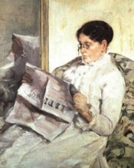 "Reading ""Le Figaro"" by Mary Cassatt (1878)"