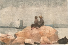 Two boys watching schooners, 1880