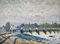 Molesey Weir – Morning, one of the paintings executed by Sisley on his visit to Britain in 1874