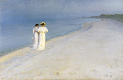 Summer Evening on the Southern Beach with Anna Ancher and Marie Krøyer, P. S. Krøyer, 1893