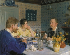 A breakfast. The artist, his wife and the writer Otto Benzon, 1893