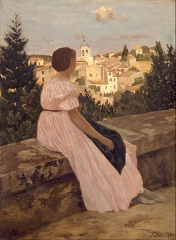 The Pink Dress (View of Castelnau-le-Lez, Hérault), 1864