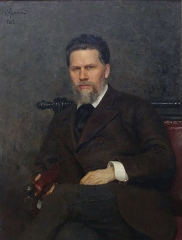 Portrait of Kramskoi by Ilya Repin, 1882.