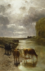 This painting depicts cattle drinking on the banks of the Touques River in Normandy