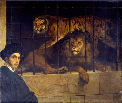 Francesco Hayez - Self-portrait with Tiger and Lion