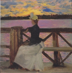 Marie Gallén at the Kuhmoniemi-bridge, 1890