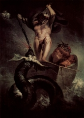 Thor Battering the Midgard Serpent, was Fuseli's diploma work for the Royal Academy, accepted 1790