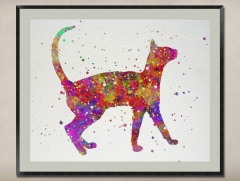 Watercolor Painting-Original Fine Art-Unique Art print Gift-Home Wall Decor Artwork-Cat-A06