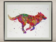 Watercolor Painting-Original Fine Art-Unique Art print Gift-Home Wall Decor Artwork-Wolf-A010