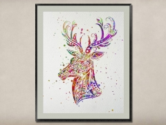 Watercolor Painting-Original Fine Art-Unique Art print Gift-Home Wall Decor Artwork-Deer-A07