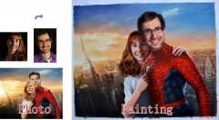 Couple Portrait, Custom Creative Oil Portrait From Photos, Hand Painted Original Oil Painting