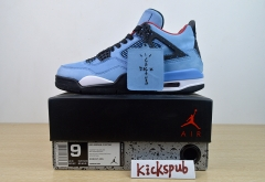 Air Jordan 4 x Travis Scott joint name AJ4 blue suede men's basketball shoes 308497-406