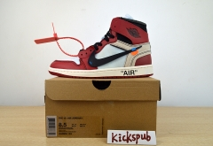 Air Jordan 1 x OFF WHITE AJ1 white red black basketball shoes AA3834 101