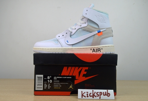 Air Jordan 1 x OFF-WHITE Joint AJ1 Men's Shoes Pure White Basketball Shoes AQ0818-100 ""