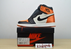 Air Jordan 1 Satin Backboard AJ1 Black Orange Silk Buckle Backboard AV3725-010