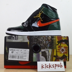 SoleFly x Air Jordan 1 Retro High OG Black Orange Orange Patent Leather AV3905-038