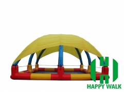 Custom Cubic Yellow & Black Colored Giant Commercial Outdoor Airtight Tent  Inflatable Pool with Trampoline