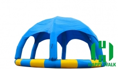 Custom Round Blue & Yellow Colored Giant Commercial Outdoor Airtight Tent  Inflatable Pool with Trampoline