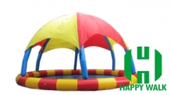 Custom Round Blue & Red Colored Giant Commercial Outdoor Airtight Tent  Inflatable Pool with Trampoline