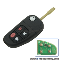 Flip remote key for Jaguar X S XJ XK NHVWB1U241 FO21 profile 4 button ID60 Glass