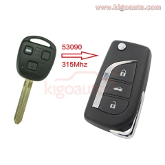 89070-53090 Refit flip key 3 button 315Mhz for Toyota