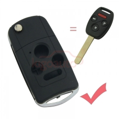 Refit flip key shell 3 button with panic for Honda
