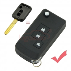 Refit Flip key shell 3 button NSN14 for Nissan