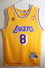 Mitchell & Ness NBA Los Angeles Lakers Kobe Bryant Yellow Swingman Men Jersey Number 8 Hardwood Classics Throwback Shirt Uniform