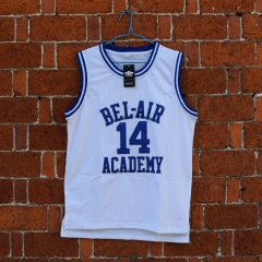 Fresh Princ of Bel Air Jersey 14 Will Smith Carlton Banks Academy Basketball Shirt S - XXL White