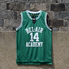Fresh Princ of Bel Air Jersey 14 Will Smith Carlton Banks Academy Basketball Shirt S - XXL GREEN