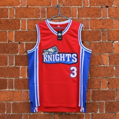 Calvin Cambridge #3 Los Angeles Knights Like Mike Basketball Stitched Jersey Movie Red