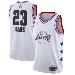 Men's Los Angeles Lakers LeBron James White 2019 All-Star Game Finished Swingman Jersey