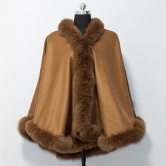 Adult 80 cm Length Cashmere Cape with Straight Fox Fur Trim