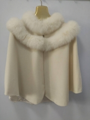 Adult 70 cm Length Cashmere Cape with Double Real Fox Fur Trim Collar