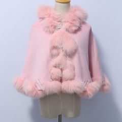 Age 3-5 40 cm Length Cashmere Cape with Twisted Fox Fur Trim