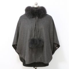 70 cm Length Cashmere Cape with Fox Fur Collar and Two Pompoms for Adult