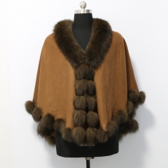 70 cm Cashmere Cape with Imitation Twist Fox Fur Trim