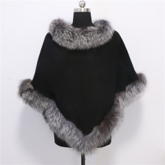 Adult 70 cm Length Cashmere Cape with Real Fox Fur Trim