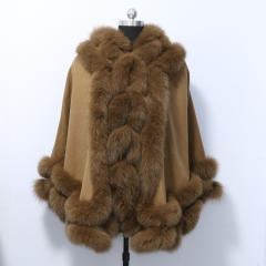Double Twisted Cashmere Cape Adult 80 cm Length with Fox Fur Trim