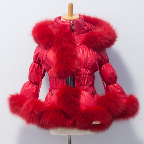 Adult & Kids  Down Jacket With Fox Fur Trim