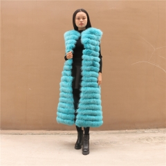 2018 New Colorful Women Long Style Fox Fur Vest