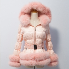 Free Shipping D14 Kid & Adult down jacket with fox fur trim