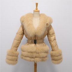 D39 down jacket with fox fur trim