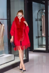 2018 hot sale fashion cashmere fox fur cape