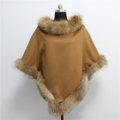 2018 new fashion women 70cm real raccoon fur cashmere cape
