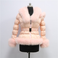 Wholesale Lady Down jacket  With Fox Fur Hood Fur Jacket for women