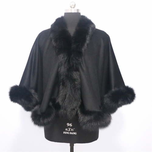 Free shipping  smart girl age6/9  length 50cm black white  real fox fur trim shawl with cashmere cape