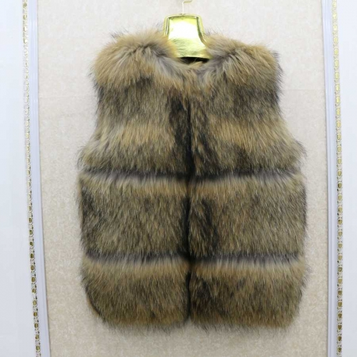 Free shipping 50% discount stock sample  winter natural raccoon fur vest for women