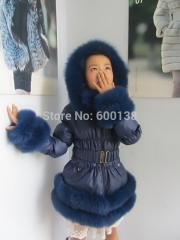 Free shipping  new style winter child  down coat / popular down wear with fox fur trim /for age10-13 mult color puffer